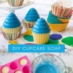 homemade cupcake soap with supplies needed to make it