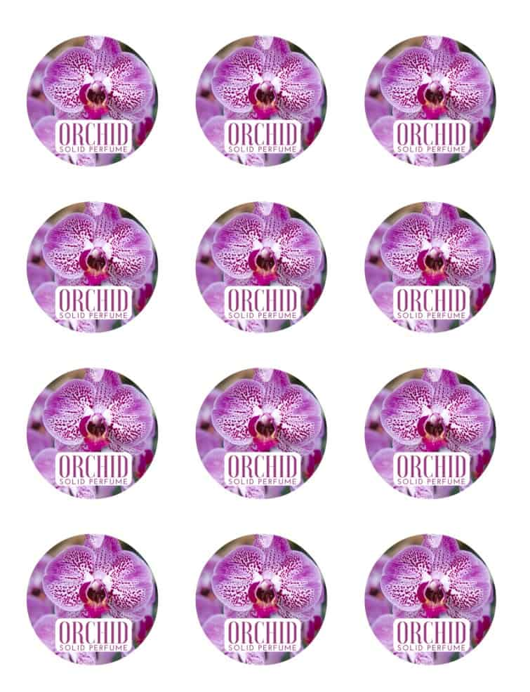 labels for orchid solid perfume