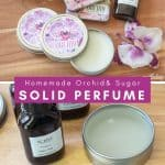 collage photo showing orchid scented solid perfume in metal tins