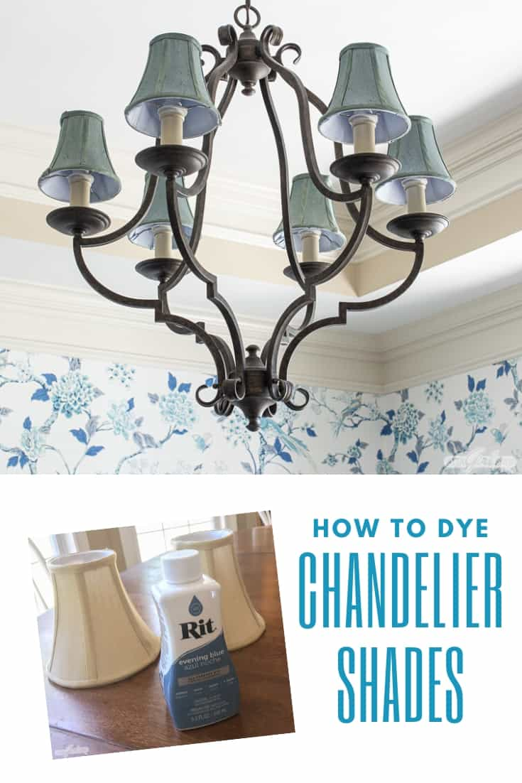 iron chandelier with dyed blue shades with a bottle of Rit Dye