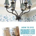 wrought iron chandelier with blue shades and a bottle of Rit Dye