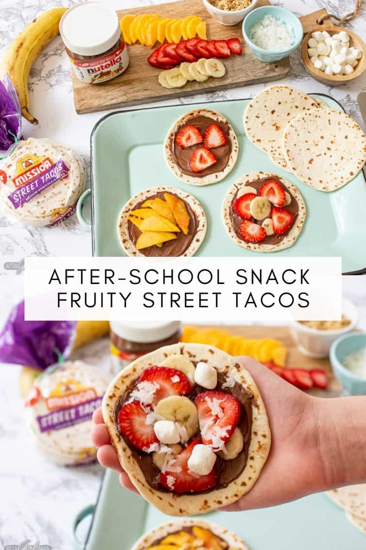 collage photo showing a dessert style street taco bar with fruit and Nutella topping