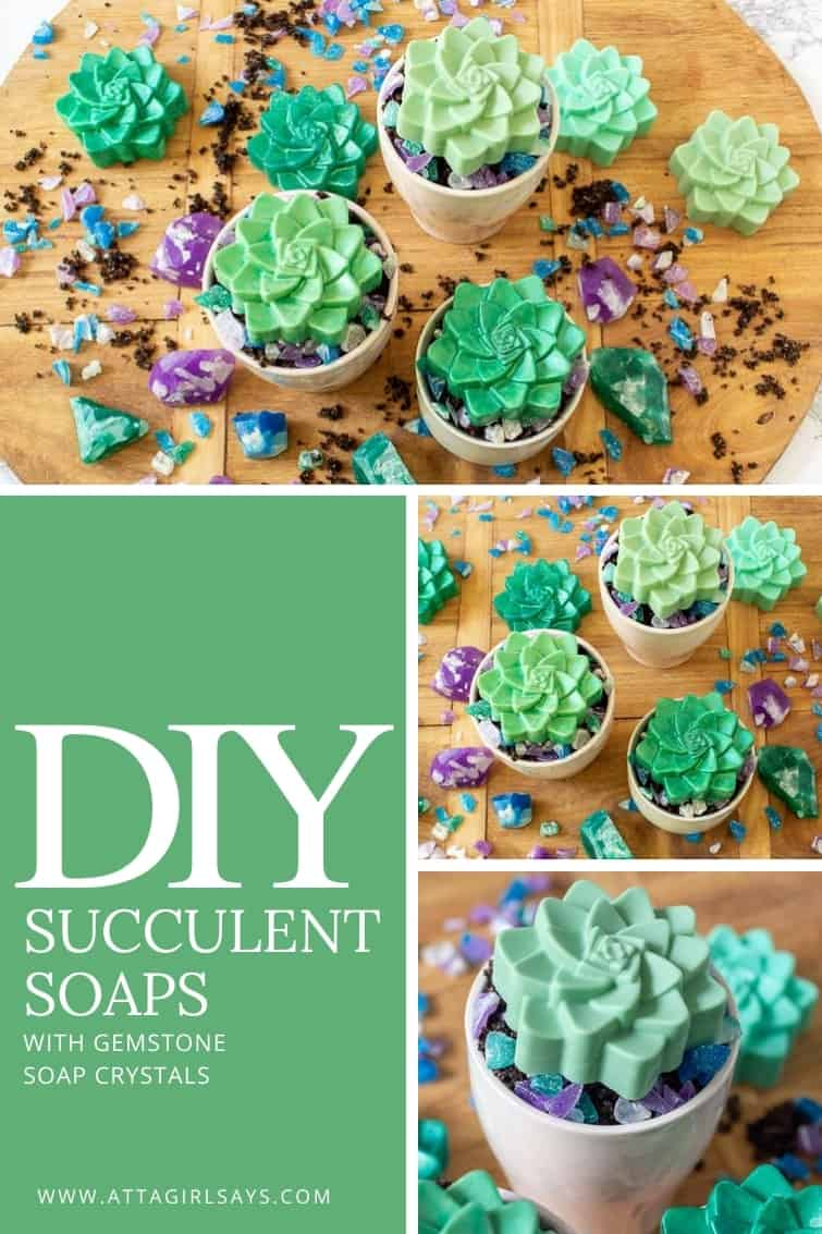 collage photo showing homemade succulent soaps in ceramic pots