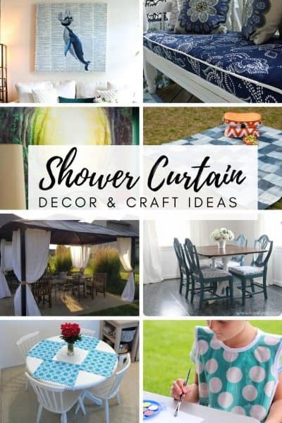 collage photo of DIY shower curtain art and other shower curtain projects