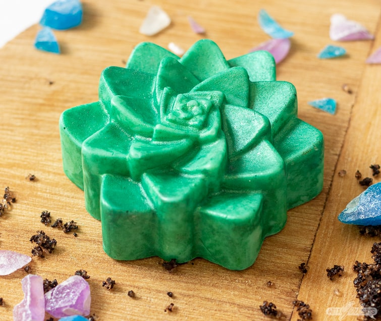 succulent soap on a wooden board