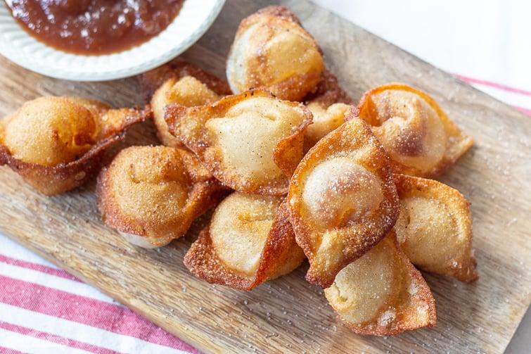 closeup of fried apple butter wonton appetizer