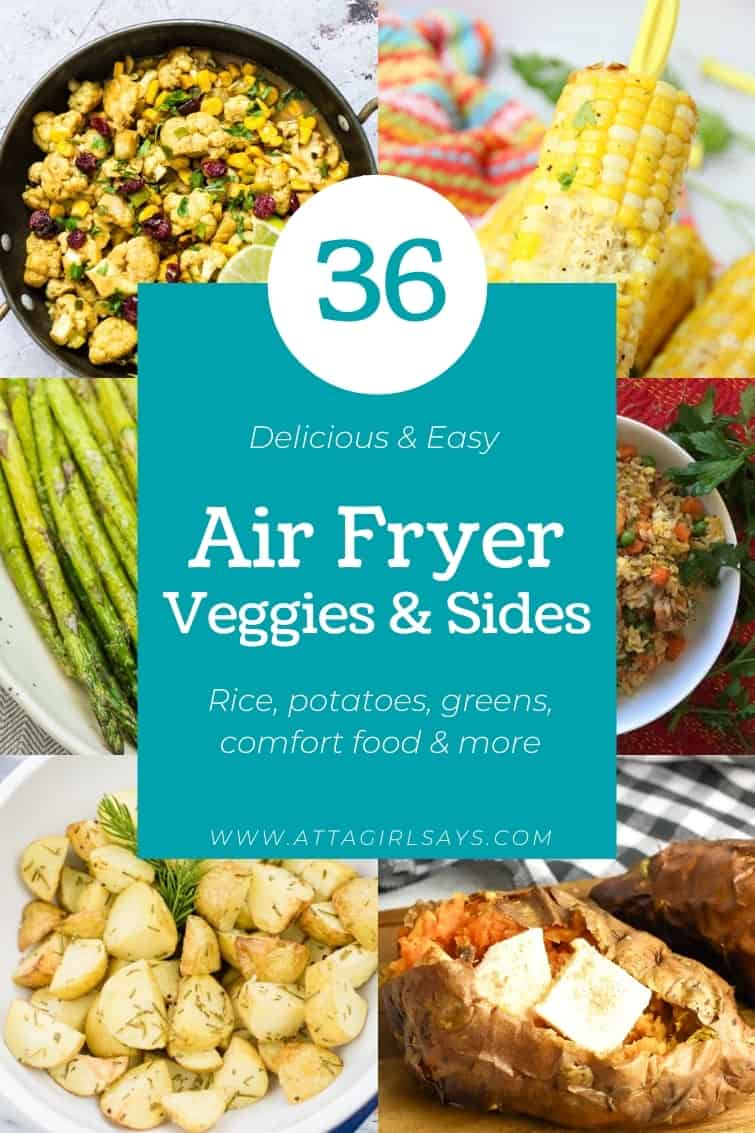 collage showing six different air fryer vegetable recipes