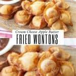 fried apple butter wontons on a wooden cutting board