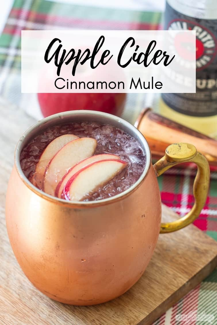 cider cocktail in a frosty copper mug