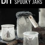 dirty Halloween specimen jars with bats, beetles and other silhouettes in them
