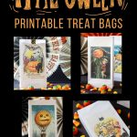 collage showing vintage Halloween postcards turned into trick or treat bags