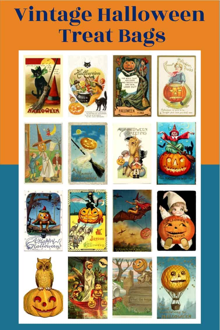 collage of vintage Halloween art