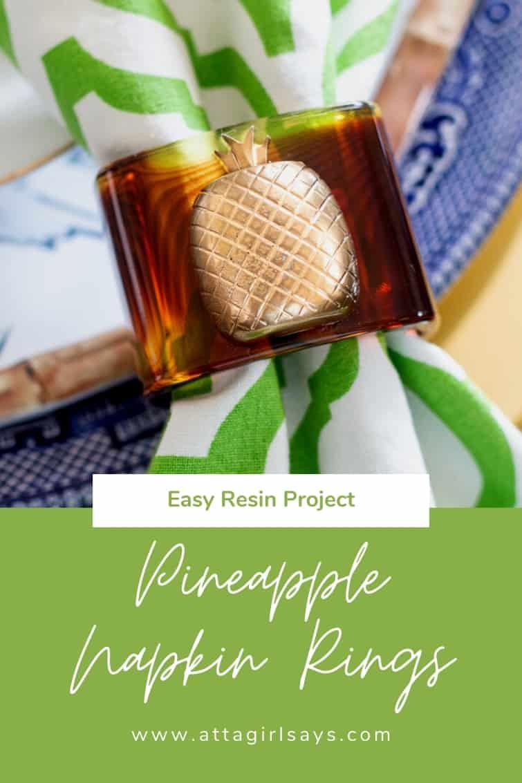 tortoise shell pineapple napkin ring with a green trellis napkin