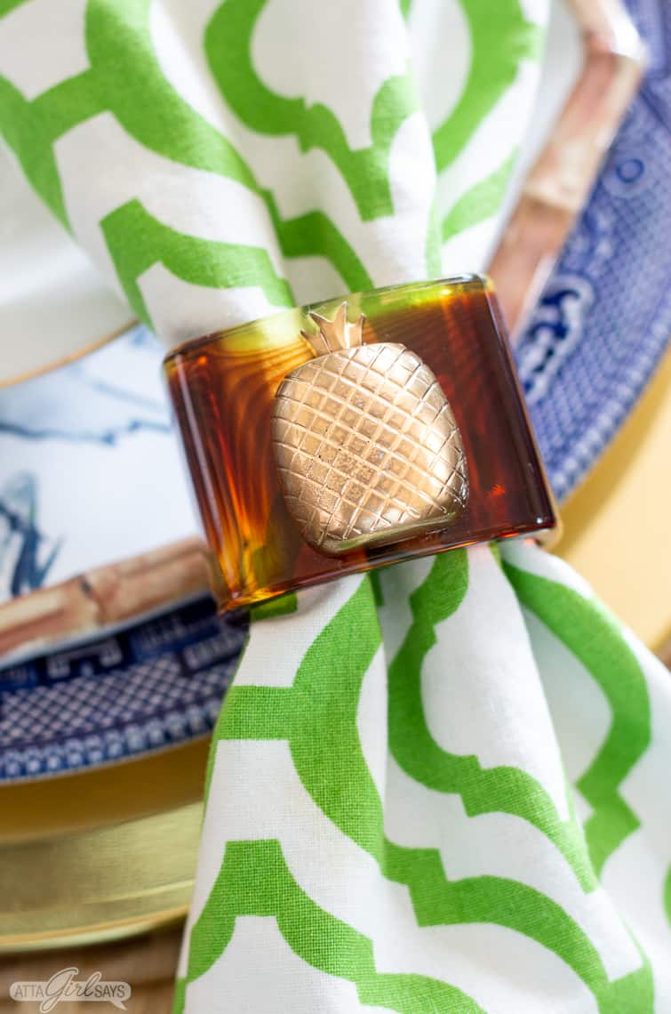 tortoise shell napkin ring with gilded pineapple