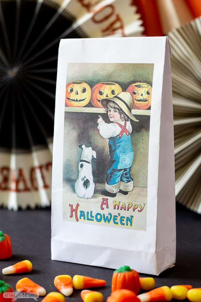 halloween treat bag with candy corn around it