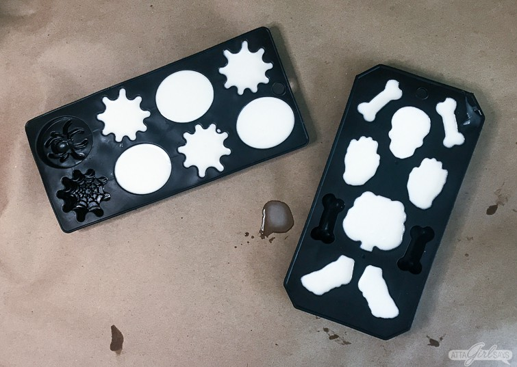 Halloween resin castings in ice cube molds