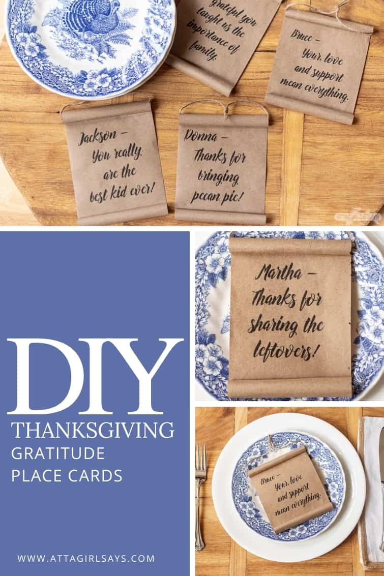collage showing DIY Thanksgiving place cards made to look like mini farmhouse scrolls
