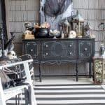 black and white Halloween porch decor