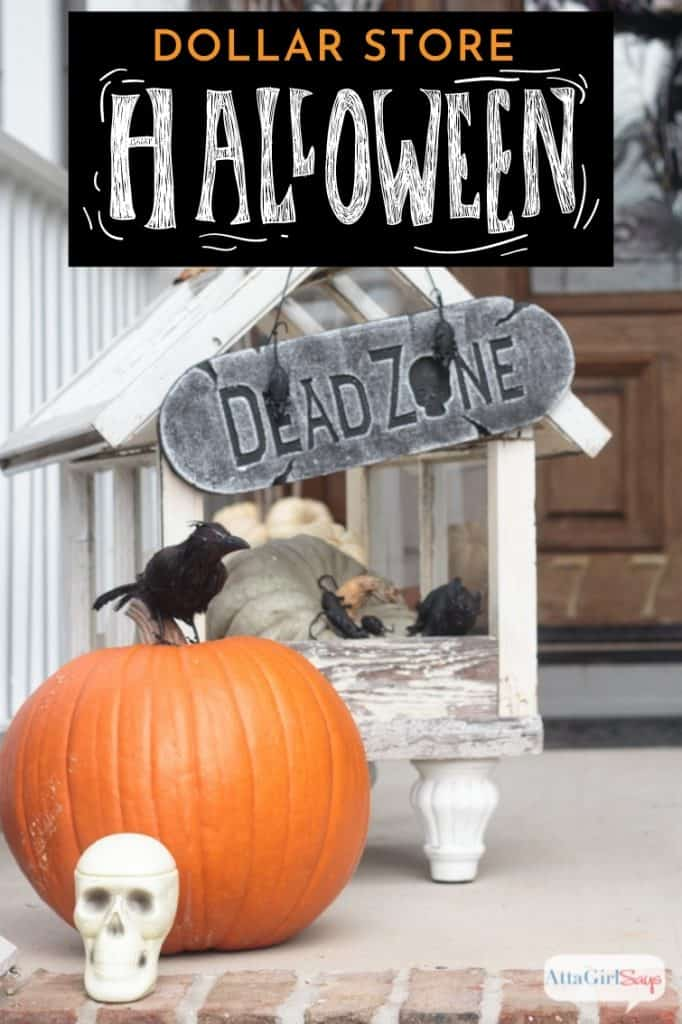 Dollar store Halloween decorations for the front porch