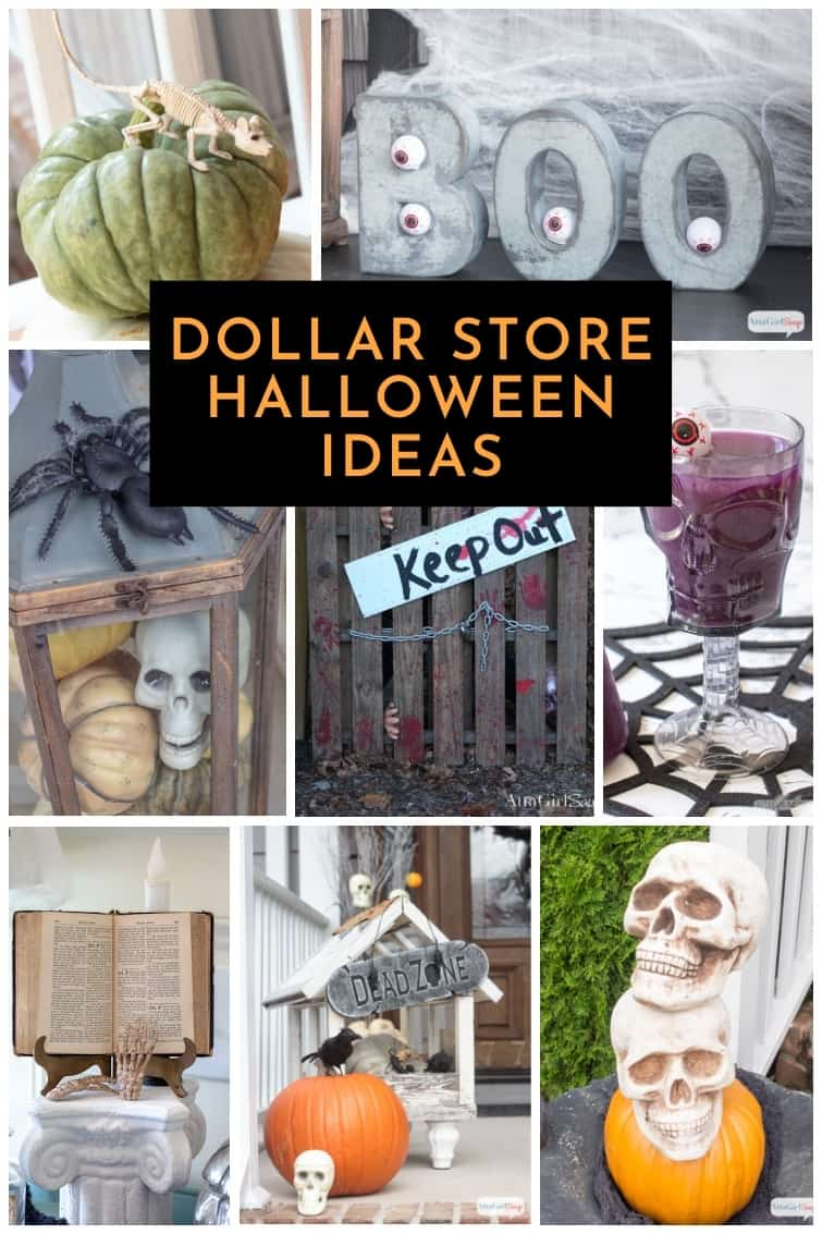collage of inexpensive Halloween decorations