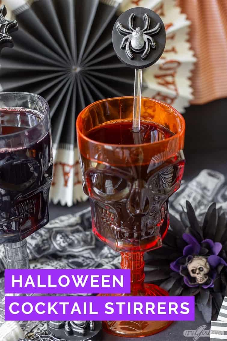 resin spider Halloween cocktail stirrer in an orange skull goblet
