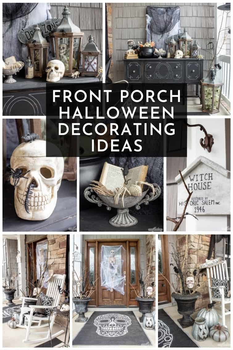 collage of black and white Halloween porch decor