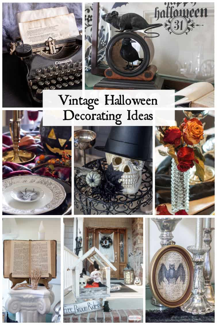 collage of vintage Halloween decorations