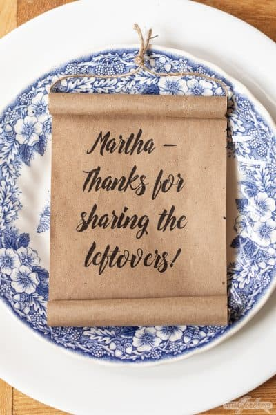 mini kraft paper scroll on a blue and white plate