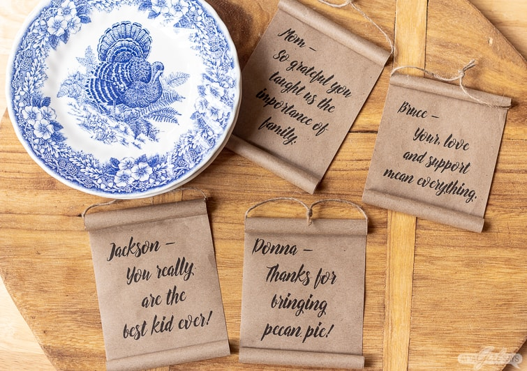 mini farmhouse scrolls and a blue and white turkey plate