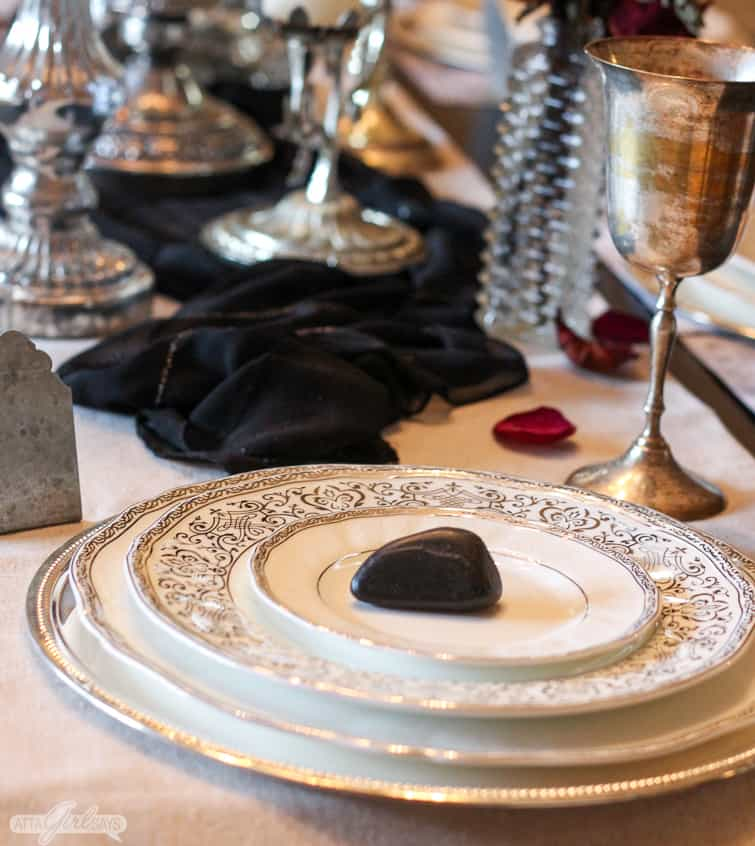 vintage Halloween tablescape with china and silverplate goblets