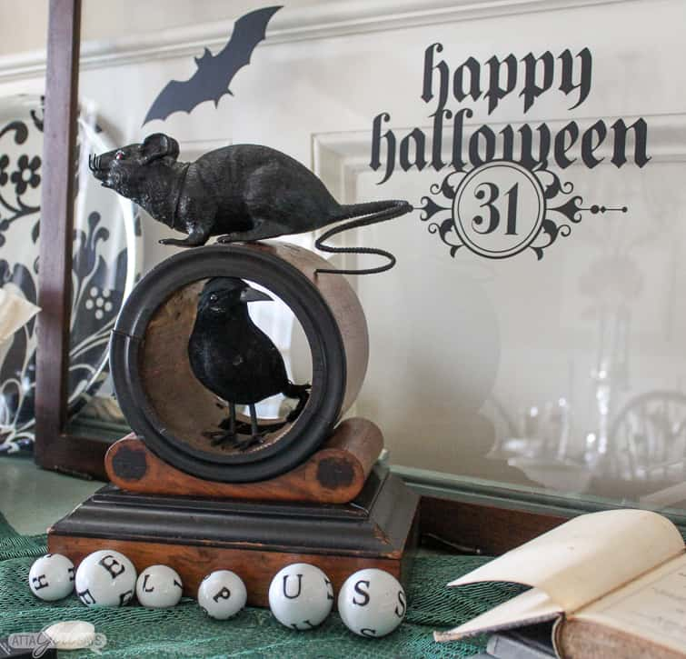 help us spelled out on ceramic alphabet balls and other vintage Halloween decorations