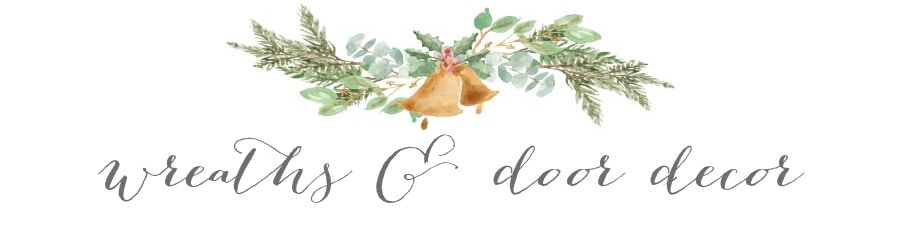 handdrawn graphic of a bell in a swag labeled wreaths and door decor