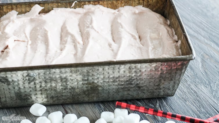 homemade ice cream in a loaf pan ready to go in freezer