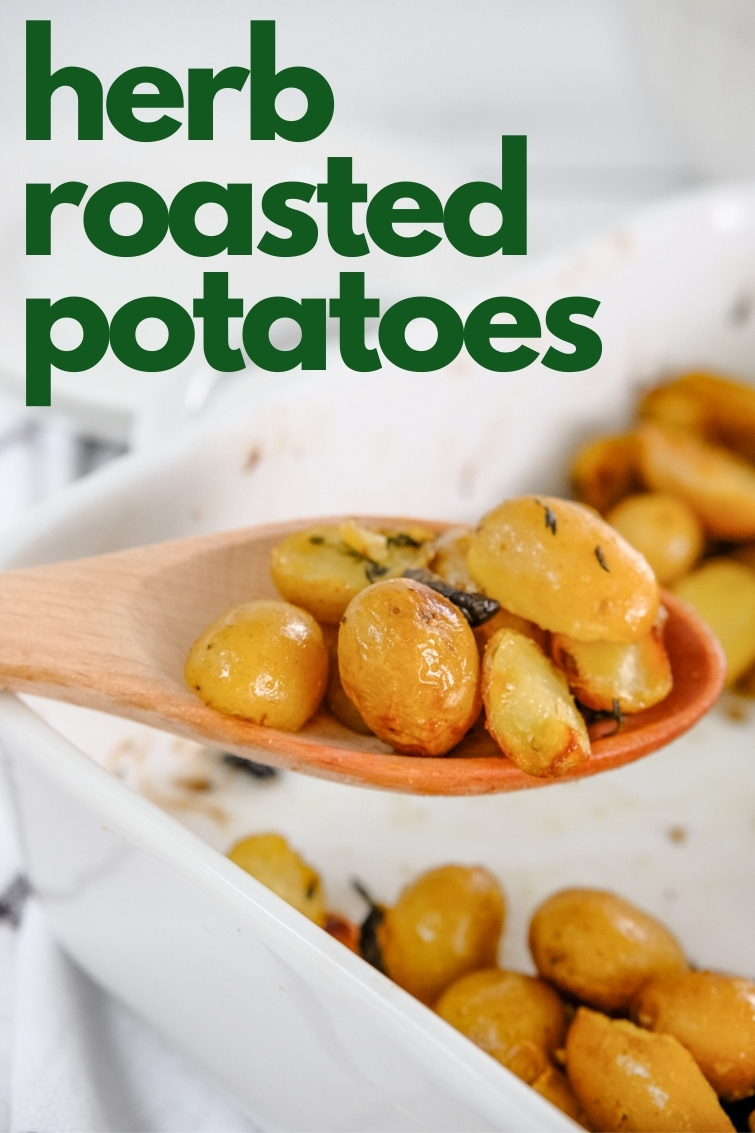 wooden spoon serving baby potatoes
