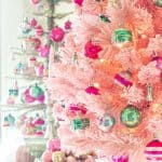 pink Christmas tree and tinsel Christmas tree decorated with pink and green vintage ornaments