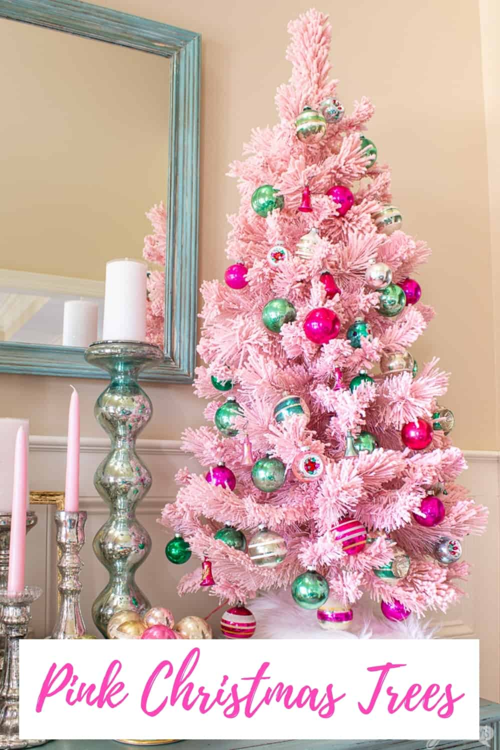 flocked pink tree decorated with vintage pink, aqua and green Christmas ornaments