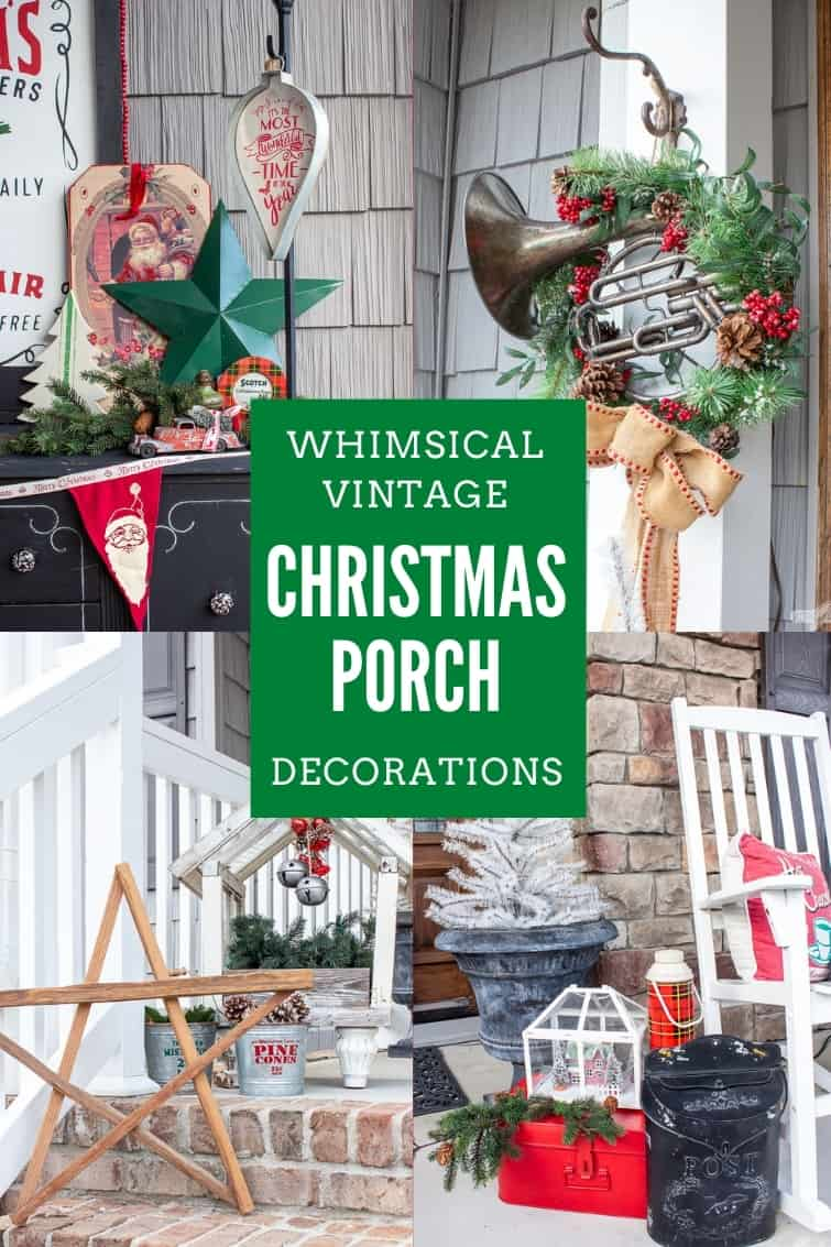 collage of four photos of a Christmas porch decorated with vintage items
