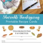 collage photo with a printable Thanksgiving recipe card beside a turkey plate
