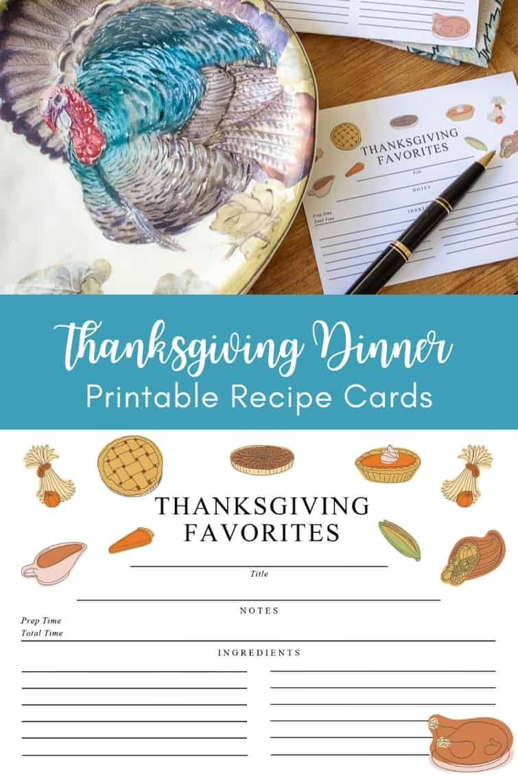 collage photo with a recipe card beside a turkey plate