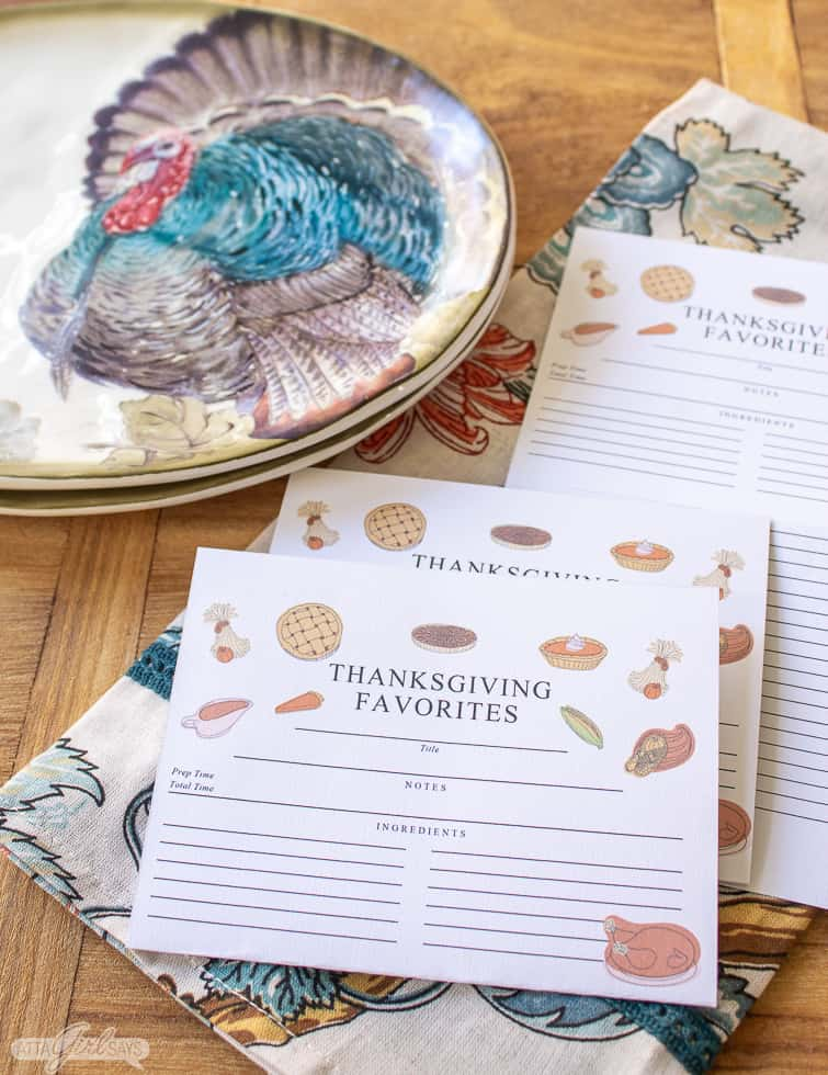 recipe cards beside a Thanksgiving turkey plate