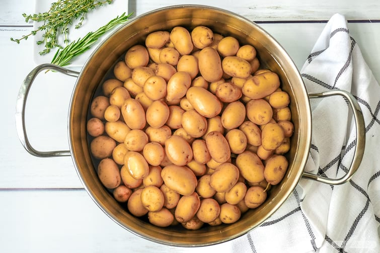 baby potatoes in a colander