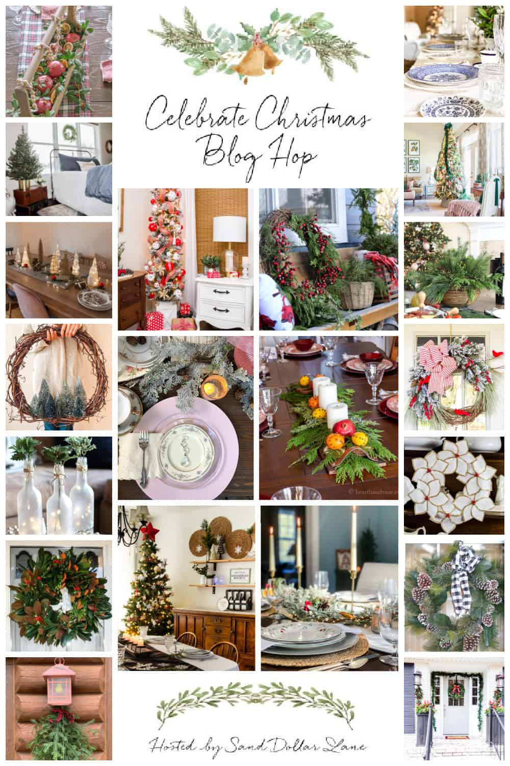 collage showing Christmas tree, tablescape, centerpiece, wreath and door decorating ideas