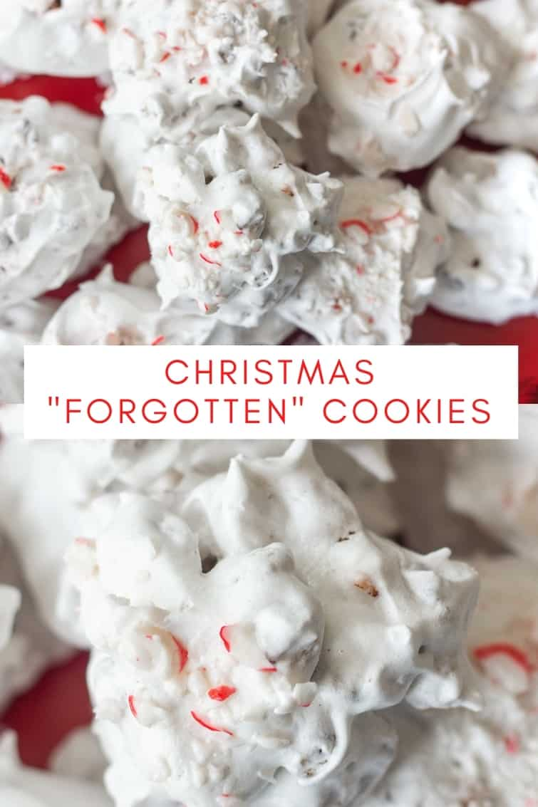 collage showing meringue Christmas cookies with peppermint candy bits