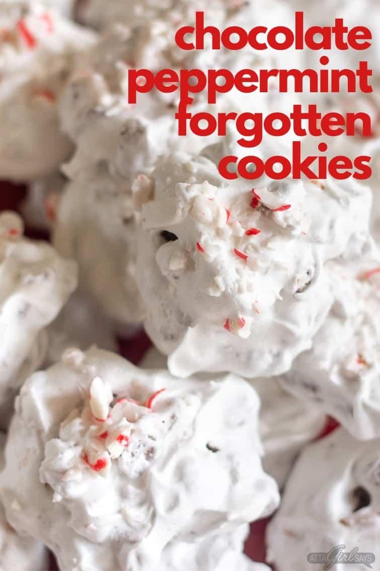 peppermint chocolate meringue cookies