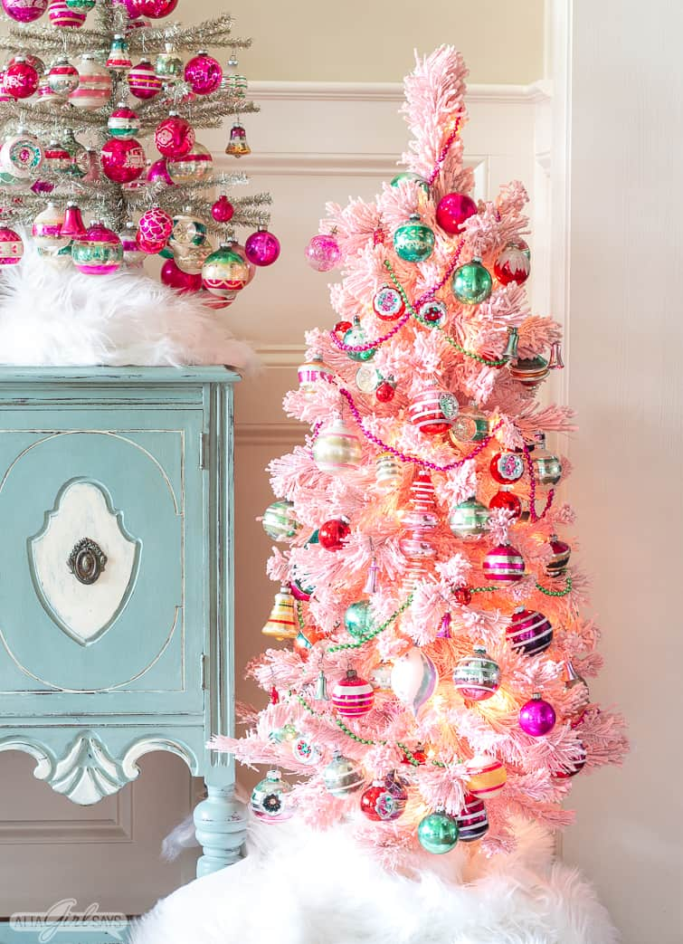 pink flocked tree decorated with vintage and reproduction pink and green Shiny Brite ornaments