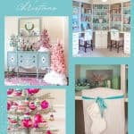 collage photo with vintage Shiny Brite ornaments on tinsel trees and a flocked pink Christmas tree