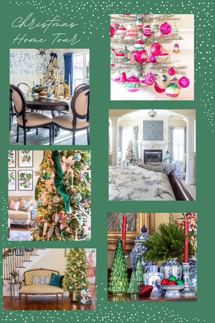 collage photo showing a traditional style southern home decorated for Christmas with vintage items