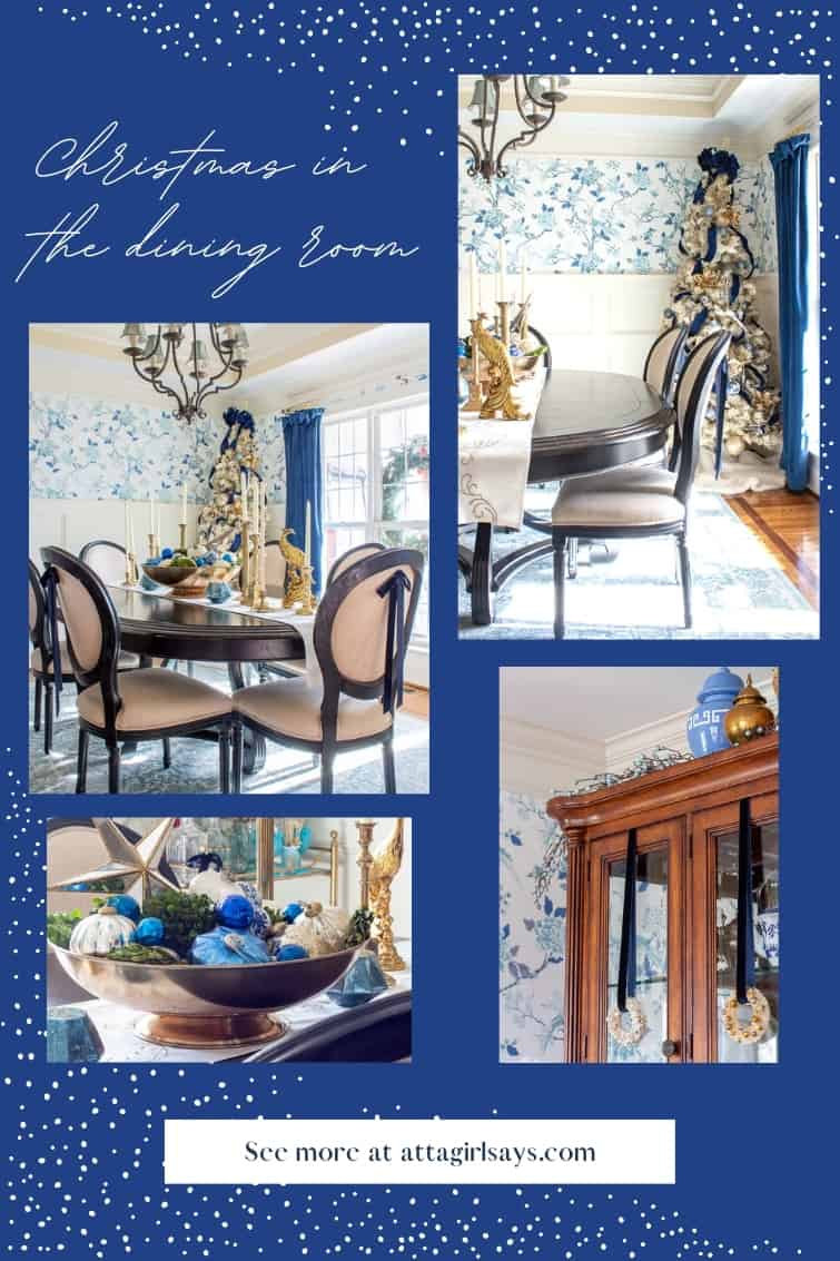 collage showing a formal dining room decorated for Christmas