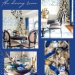 collage showing a dining room decorated with blue white and gold chinoiserie for Christmas
