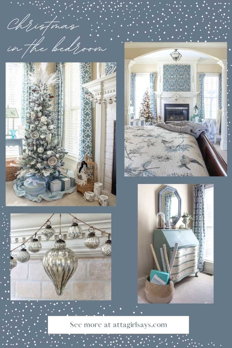 collage photo of a master bedroom decorated with blue and white for Christmas
